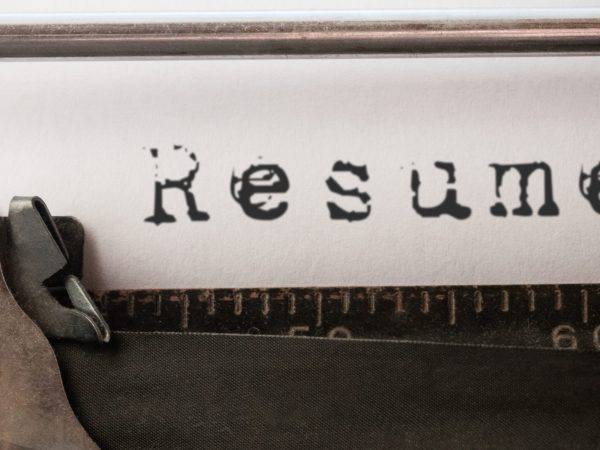 Composite image of the word resume